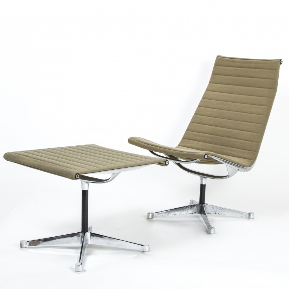 Herman miller ea116 ea125 aluminium chair ottoman by for Charles eames lounge chair nachbildung