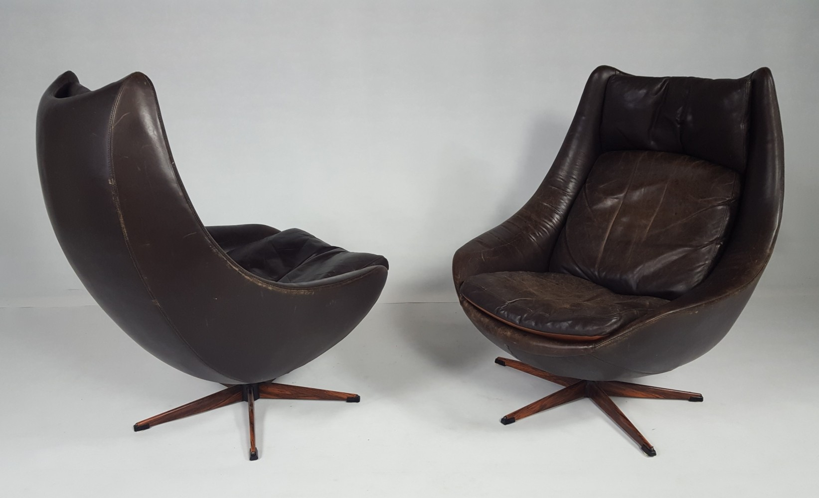 Pair Of Danish Leather Swivel Chairs 1970s 69512