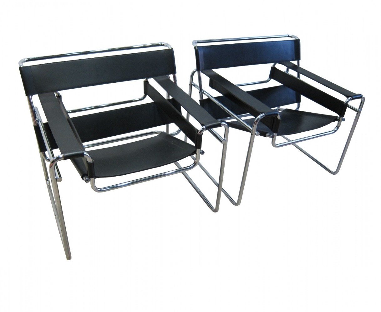 pair of knoll b3 39 wassily 39 chairs by marcel breuer 69508. Black Bedroom Furniture Sets. Home Design Ideas