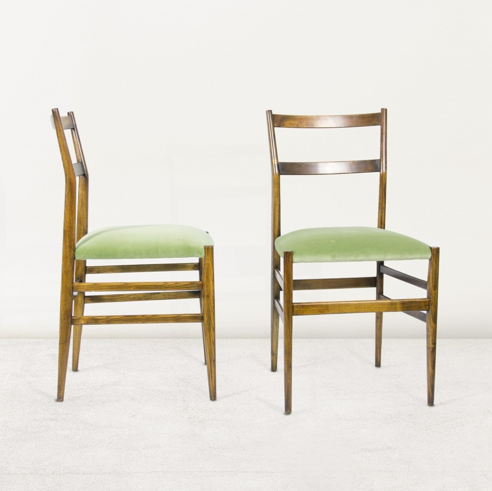 Good Pair Of Leggera Dinner Chairs By Gio Ponti For Cassina, 1950s