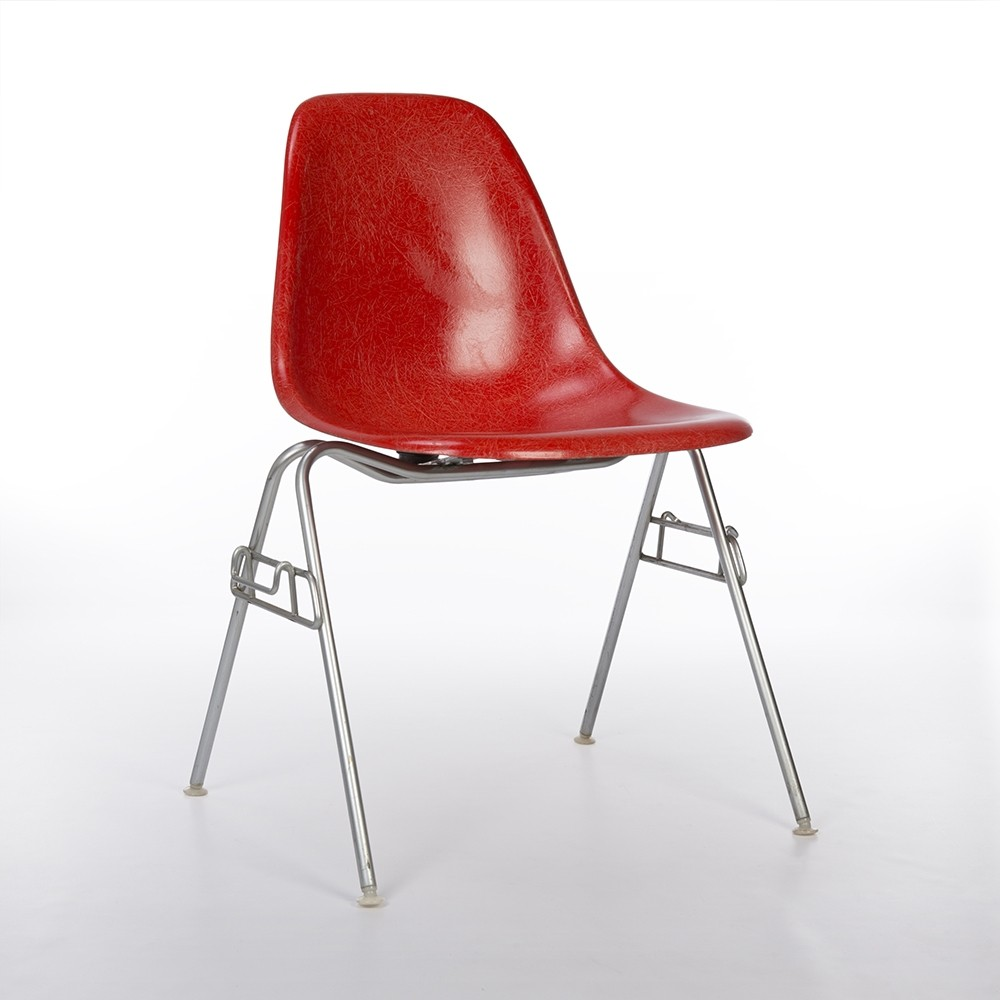 original herman miller vintage red eames dss stacking side chair 69897. Black Bedroom Furniture Sets. Home Design Ideas