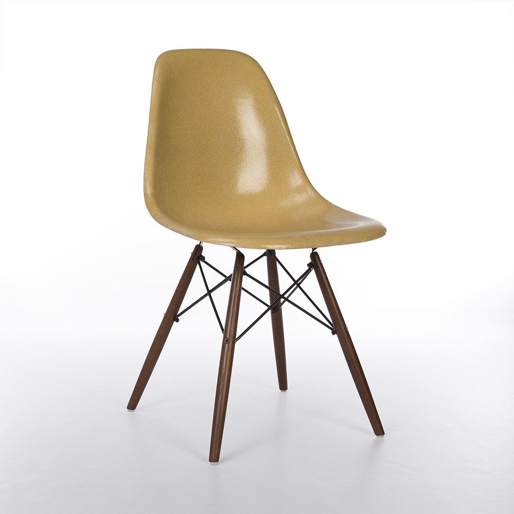 Original Herman Miller Dark Ochre Eames DSW Side Shell Chair