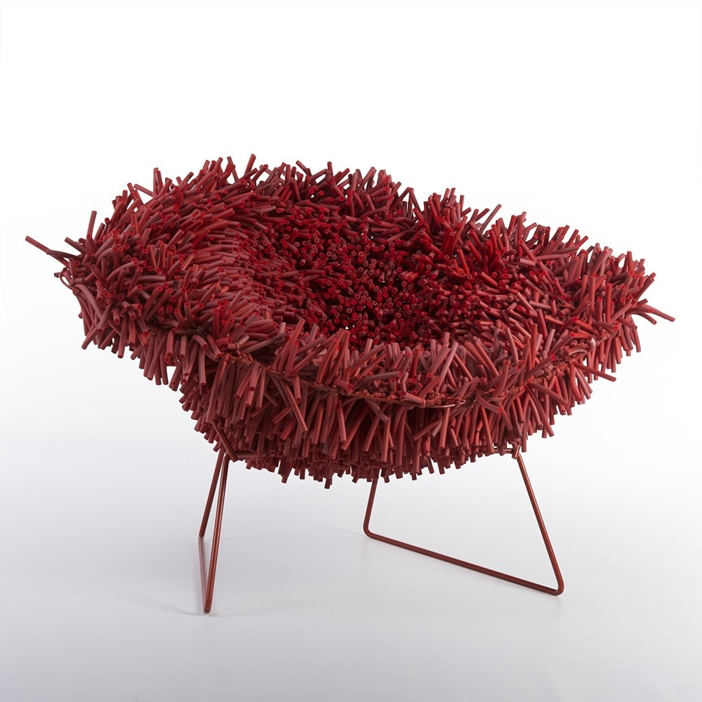 Red Knoll Harry Bertoia Hairy Diamond Chair by Douglas Homer