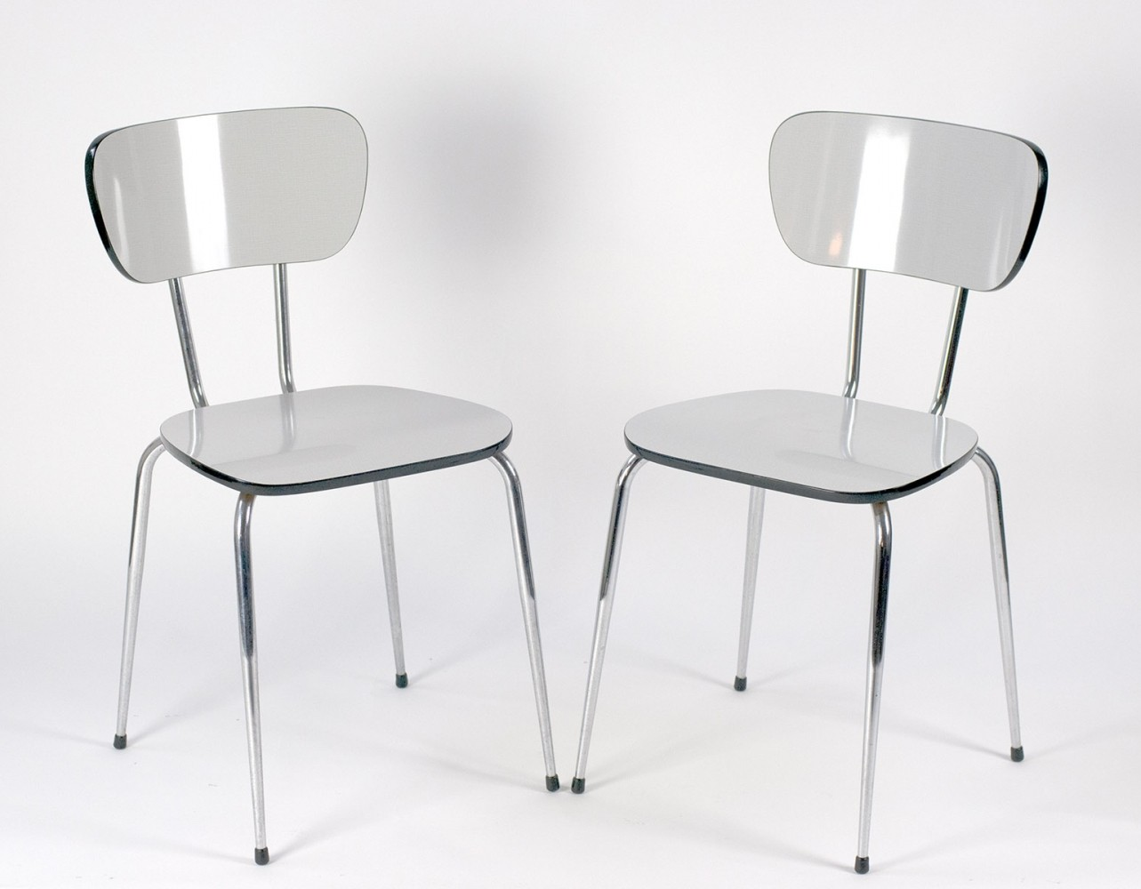 Pair of Chairs in white Resopal, 1970s