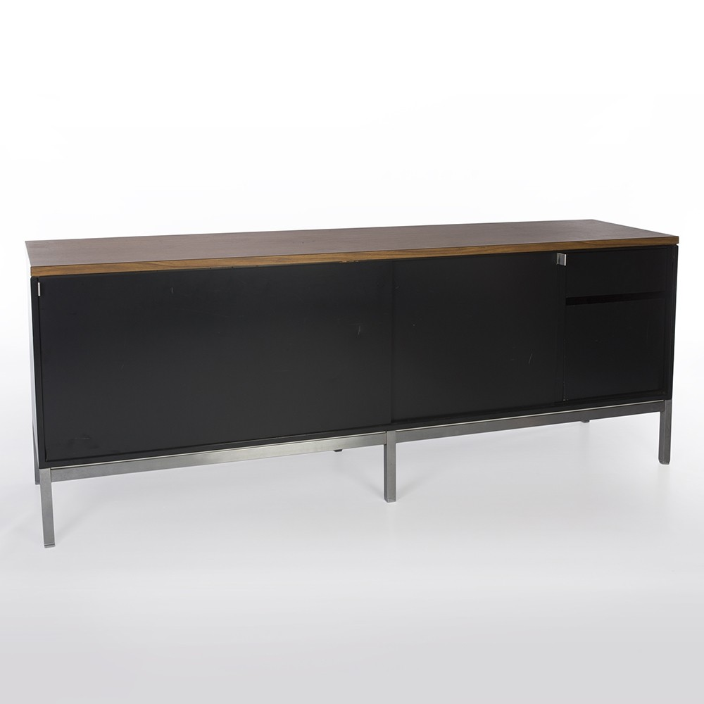 Original Art Metal Black & Walnut Credenza For Knoll