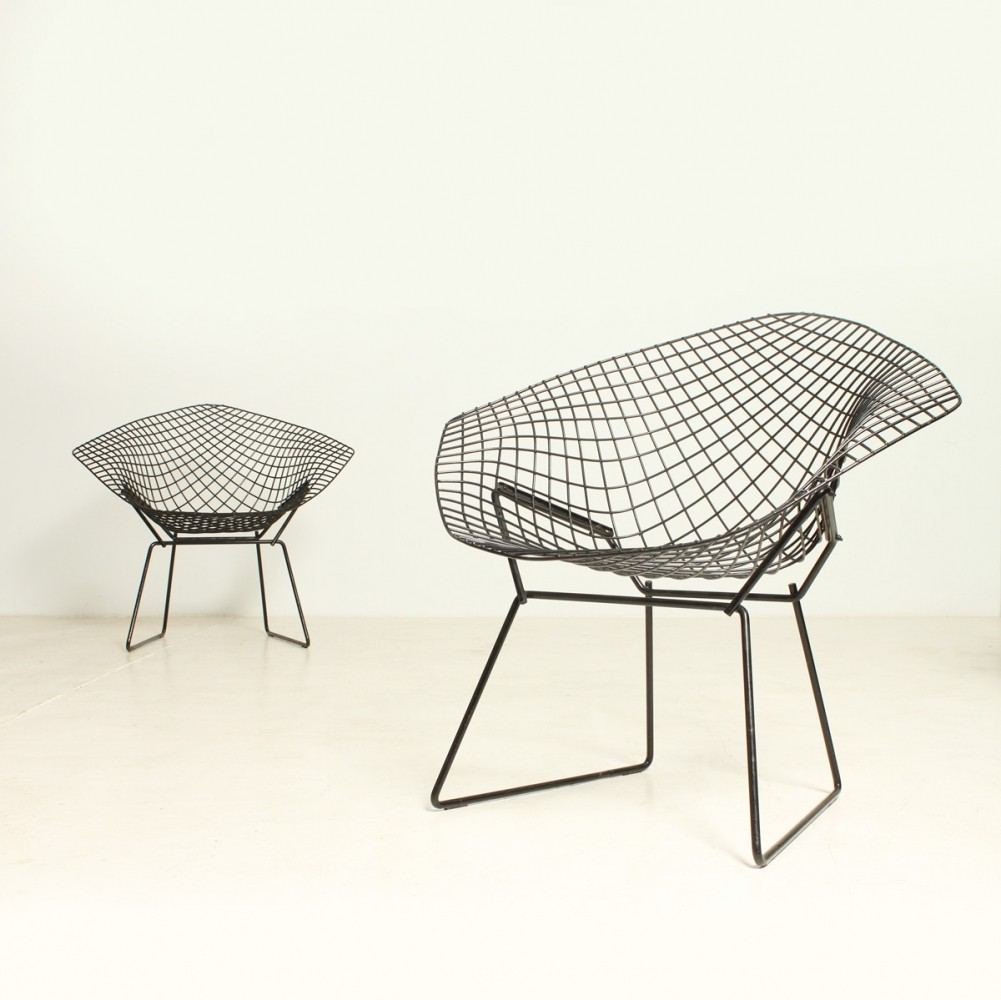 pair of black diamond chairs by harry bertoia for knoll