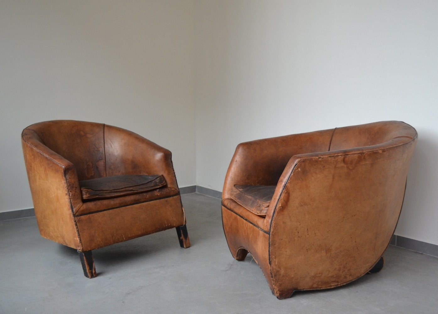 pair of cocoon lounge chairs 1940s