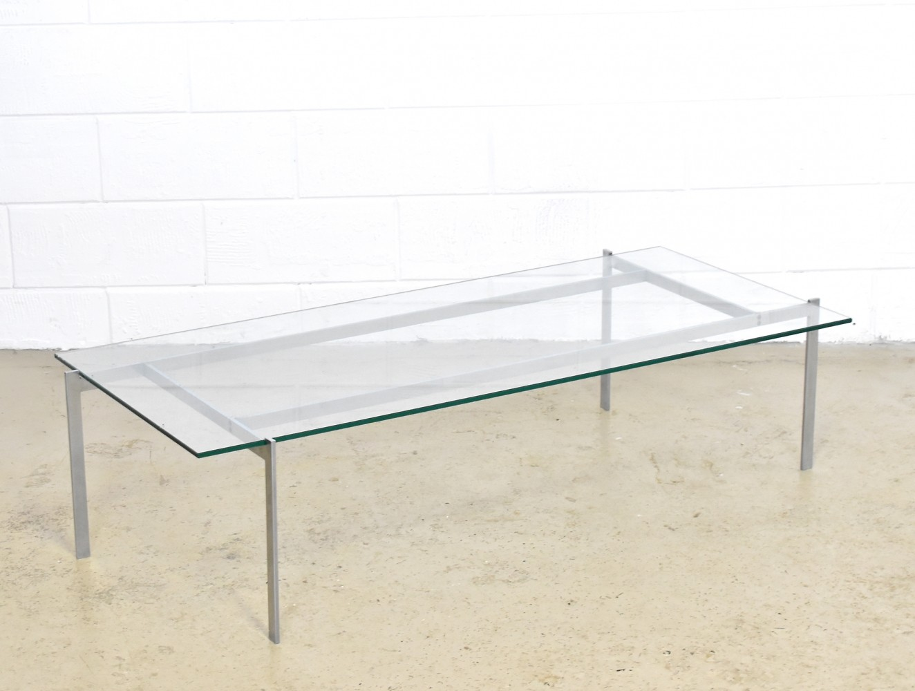 Minimalistic chrome steel coffee table