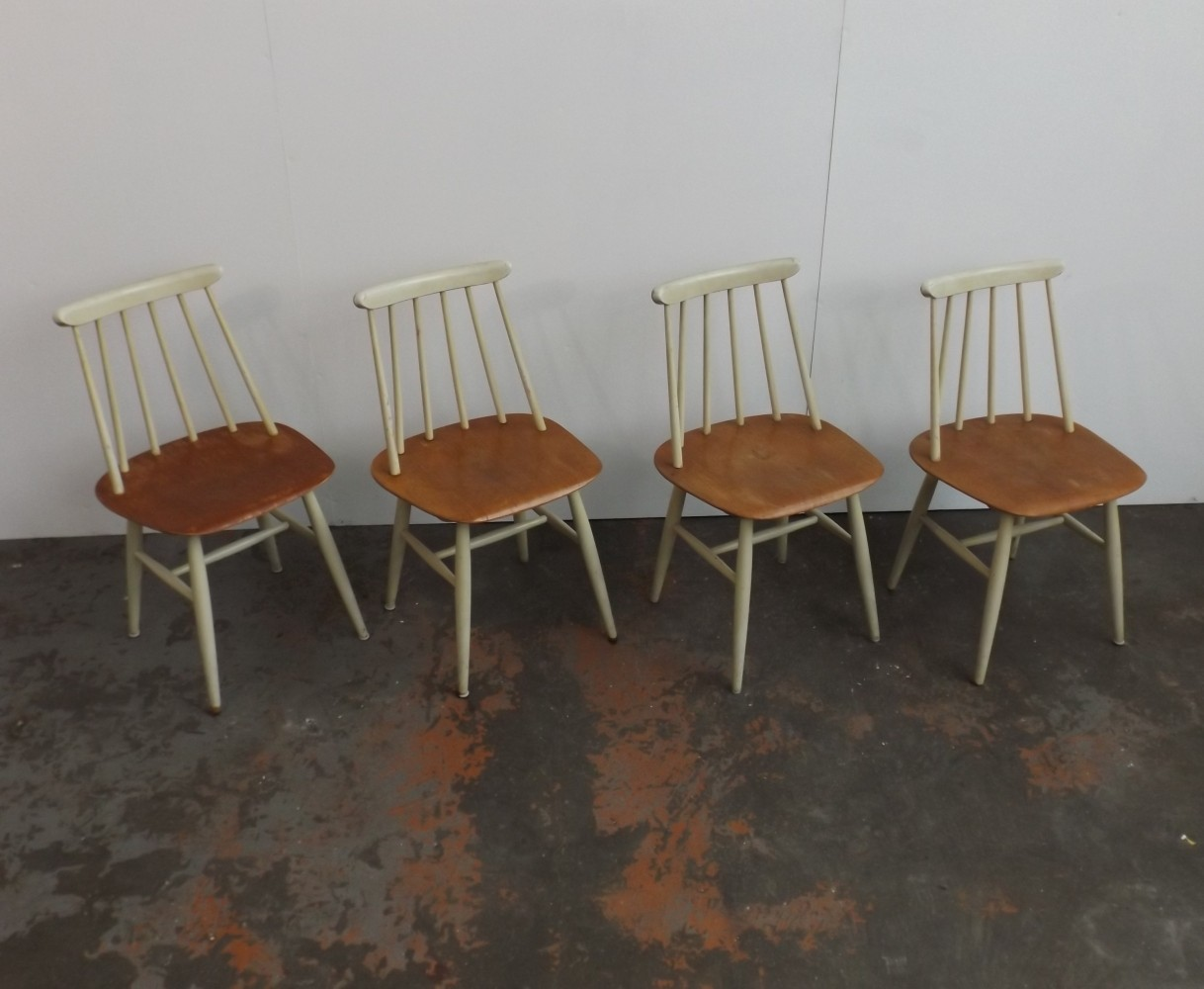 Set of 4 Fanett dinner chairs by Ilmari Tapiovaara for Edsby Verken, 1960s