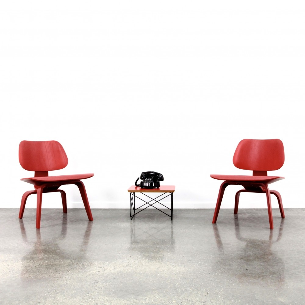 2 x Eames LCW lounge chair wood in red ash finish