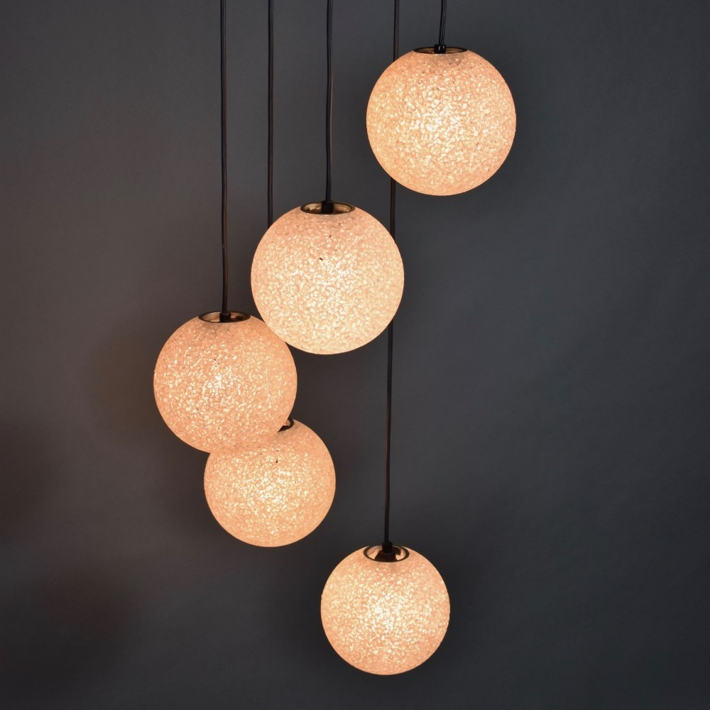 Stunning Five globe chandelier, 1960s