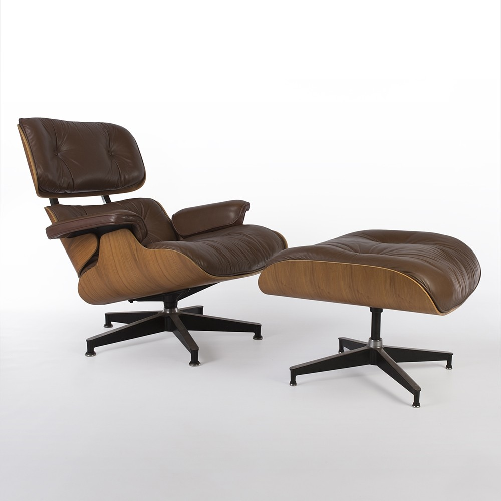 original brown walnut herman miller eames lounge chair ottoman 71512. Black Bedroom Furniture Sets. Home Design Ideas