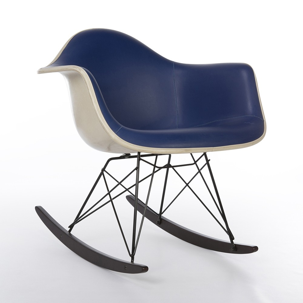 Original Blue Vinyl Herman Miller Eames RAR Rocking Arm Shell Chair