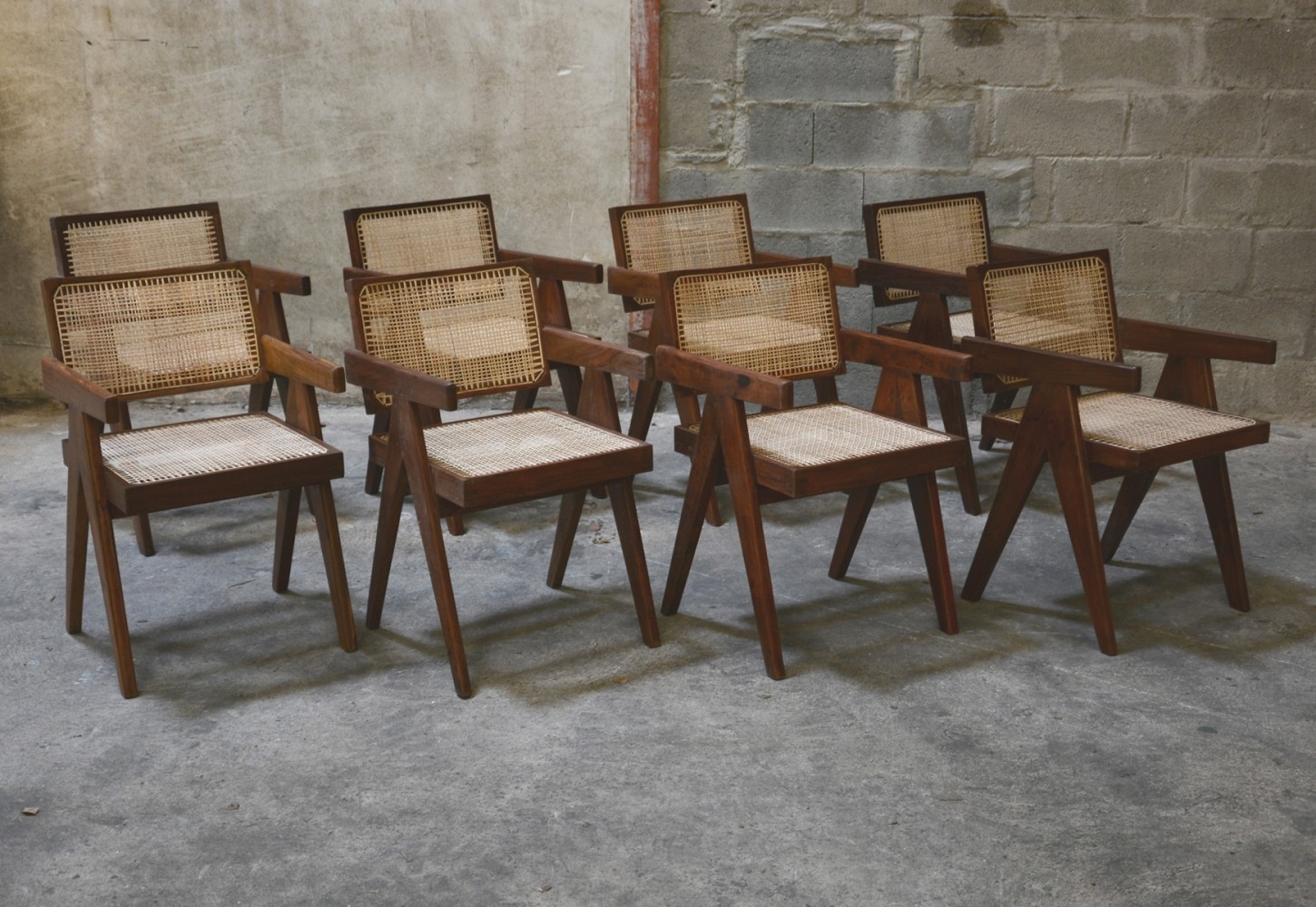 Rare Set of 8 Office Chairs by Pierre Jeanneret