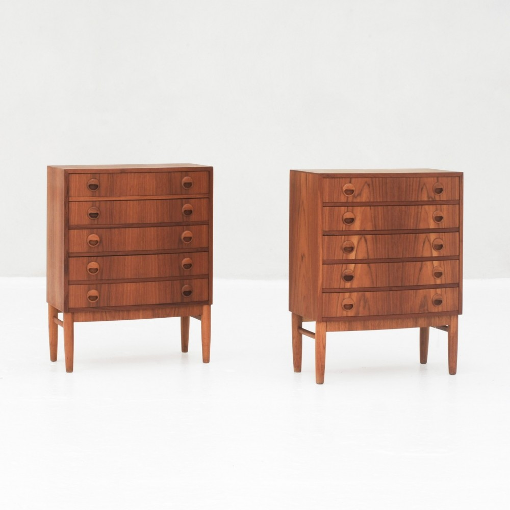 Pair bow front dressers by Kai Kristiansen, Denmark 1960s