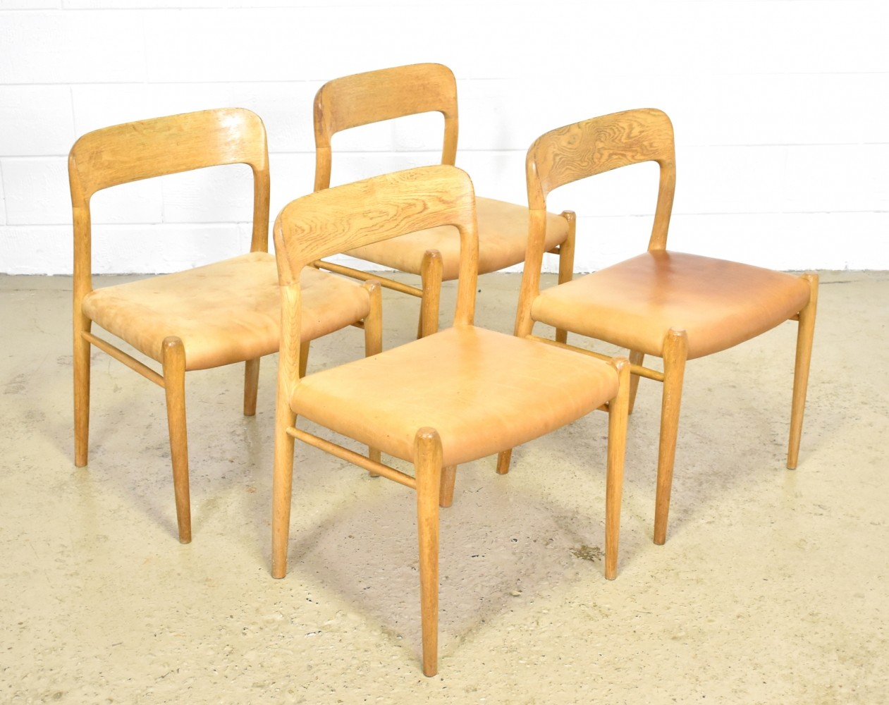Set of 4 oak with leather model 75 dinner chairs by Niels Otto Møller