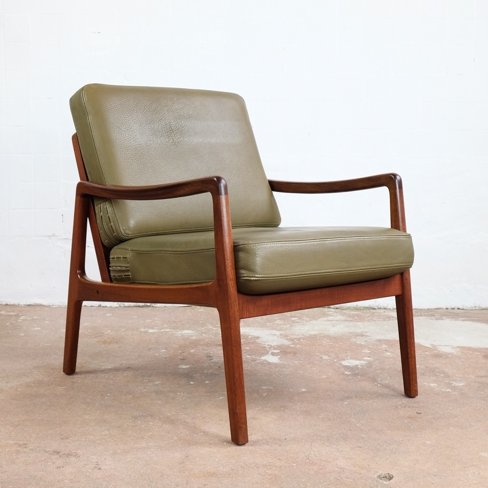 Easy chair in teak & leather by Ole Wanscher for France & Søn