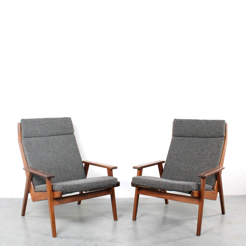 Pair of Lotus arm chairs by Rob Parry for Gelderland, 1960s