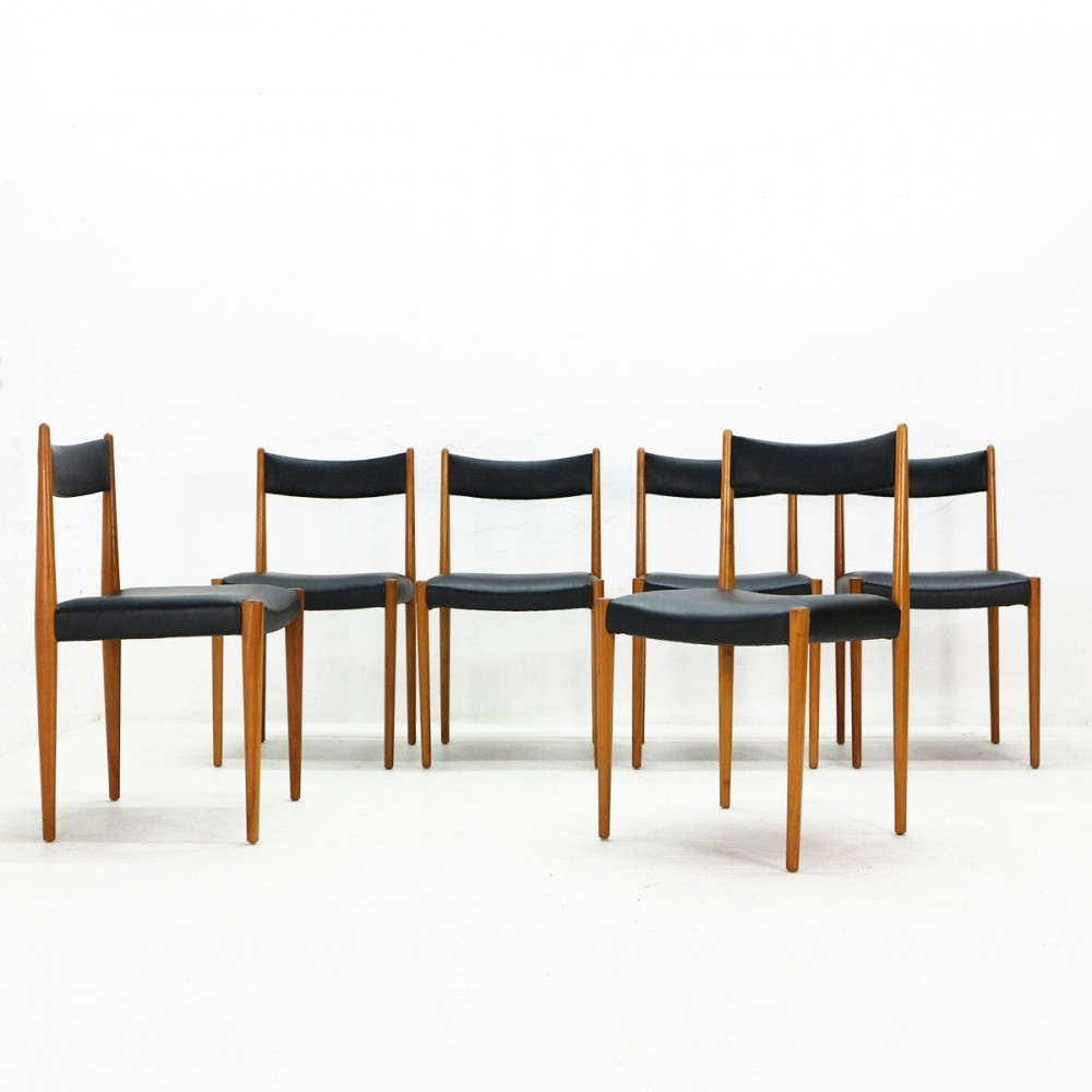 Lot of six Cherrywood Dining Chairs by Luebke, 1960s
