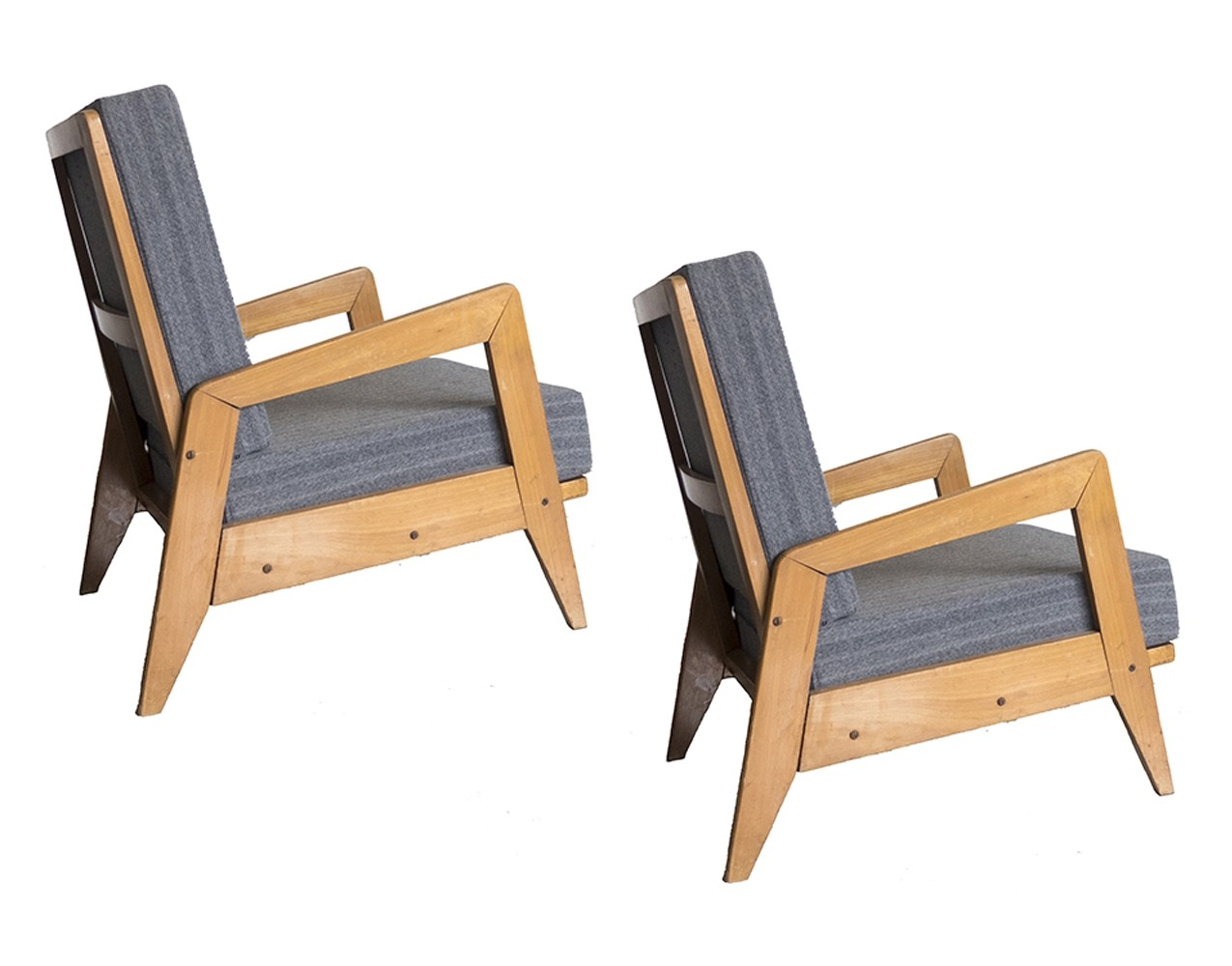 Set Of 2 Italian Rationalist Wooden Armchairs, 1940s