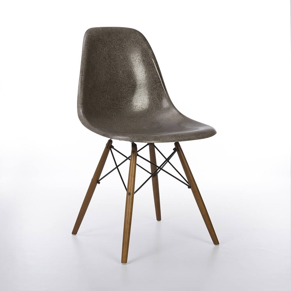 Original Herman Miller Early Elephant Grey Eames DSW Dining Side Chair