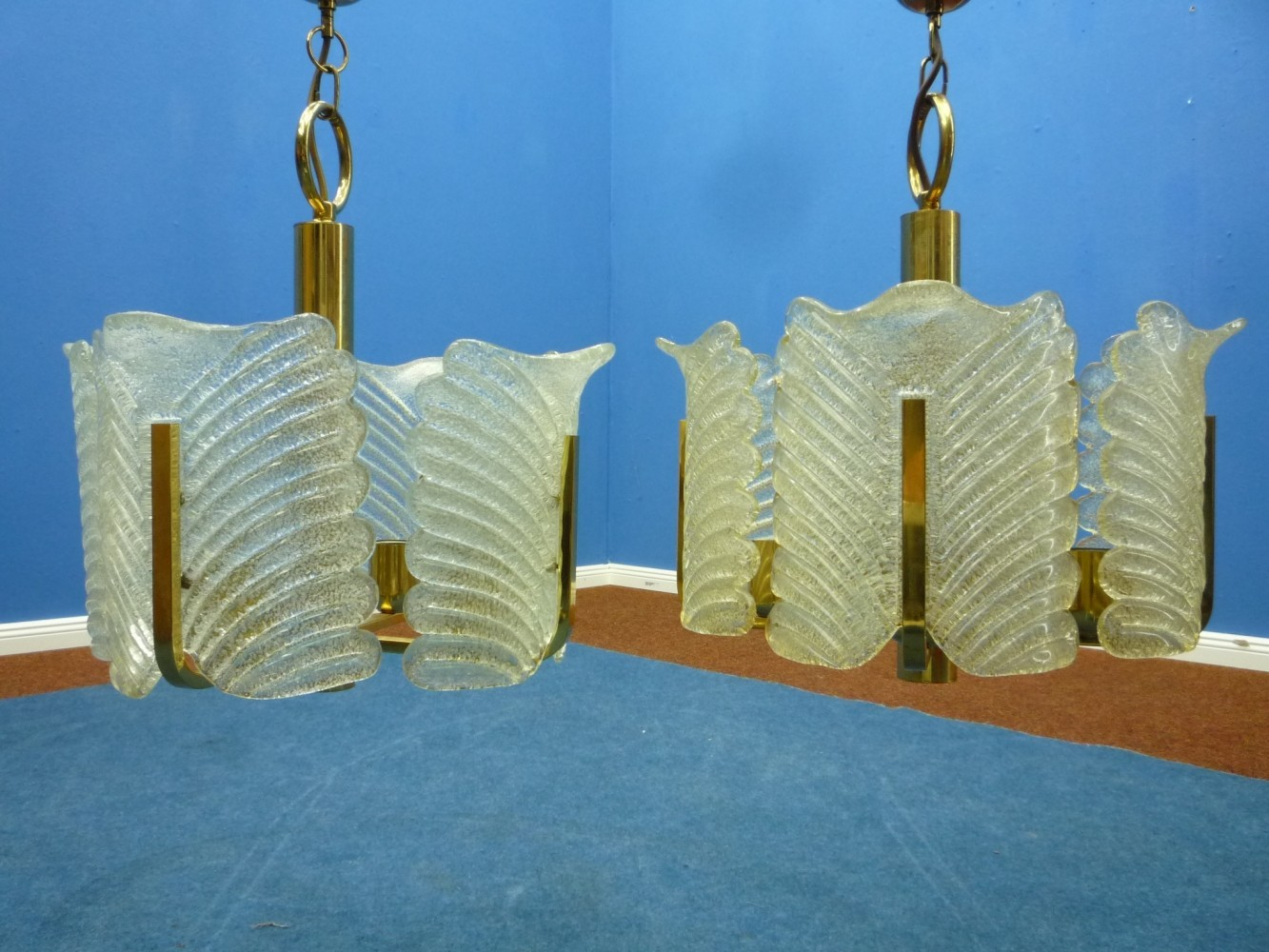Two Pendant Lamps from Carl Fagerlund Orrefors , 1960s