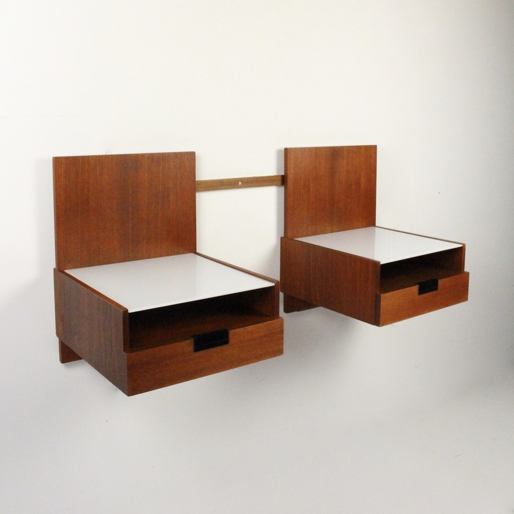 Pair of Japanese series Night stands wall units by Cees Braakman for Pastoe, 1960s
