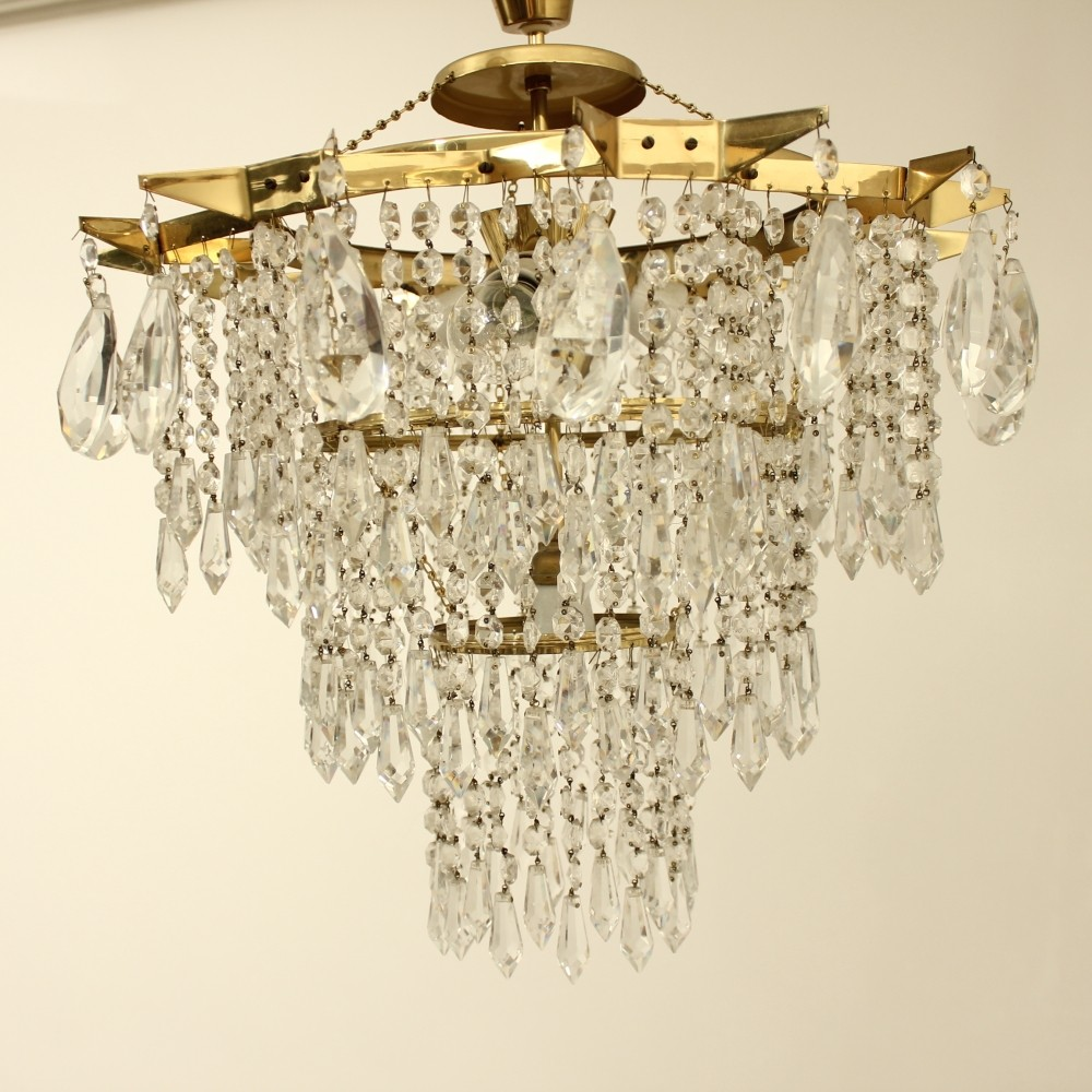 Czech Crystal Ceilling Chandelier by Lustry Kamenicky Senov