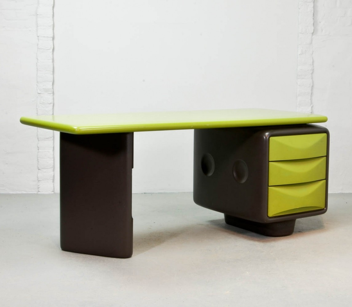 Avocado Green & Brown Jet Desk Designed by Ernest Igl, 1970s