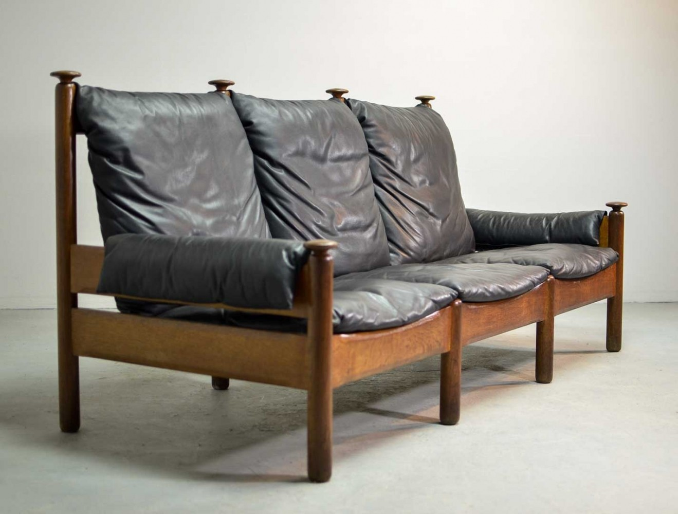 Sturdy Mid-Century Smooth Black Leather Scandinavian 3-Seat Sofa, 1960s