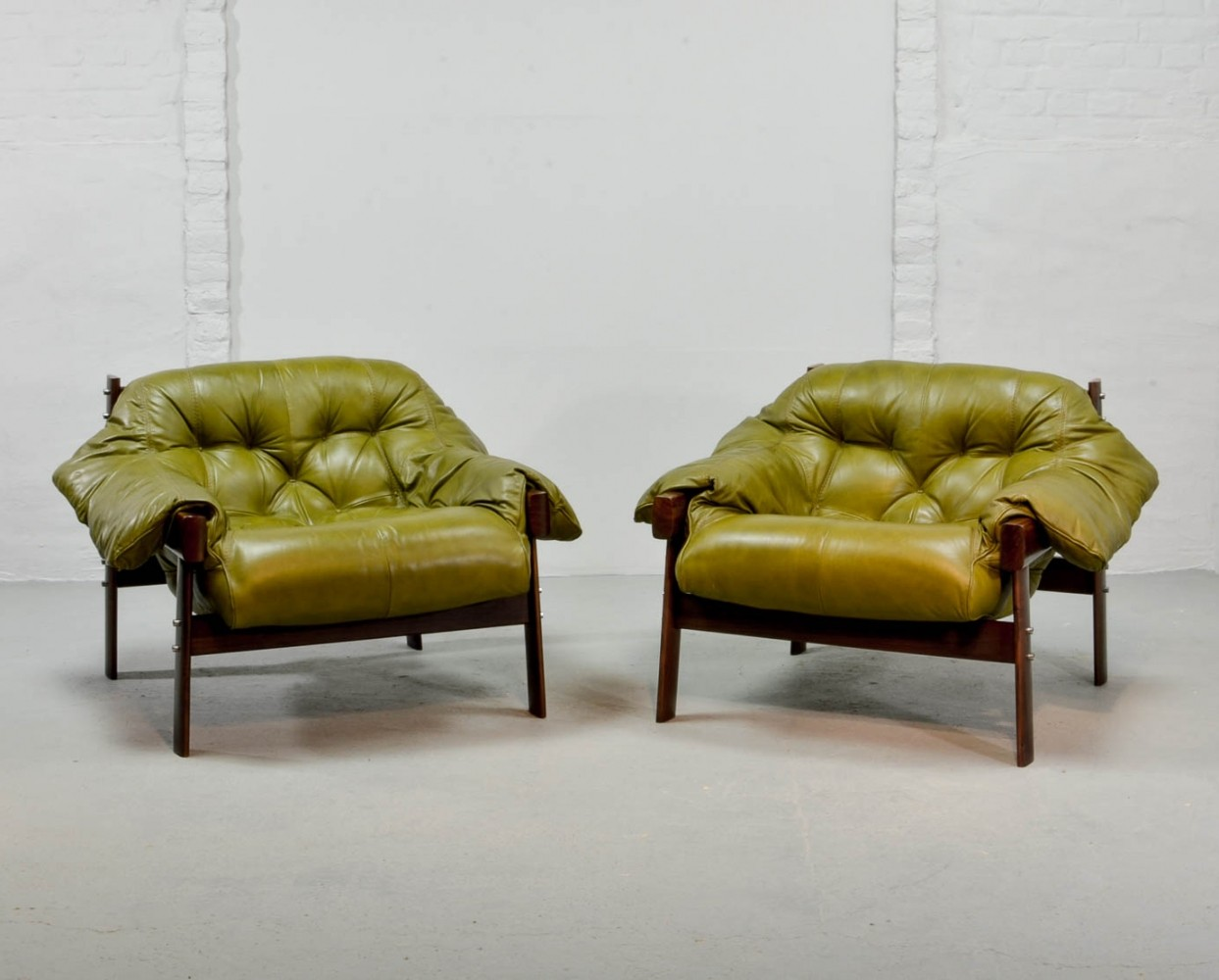 Beautiful Set Of Olive Green Leather Lounge Chairs