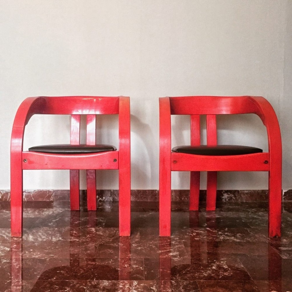 Pair of Elisa dining chairs by Giovanni Bassi for Poltronova, 1960s