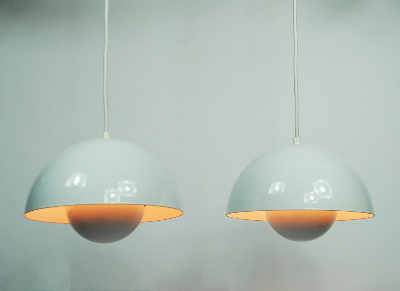Pair of Flower pot hanging lamps by Verner Panton for