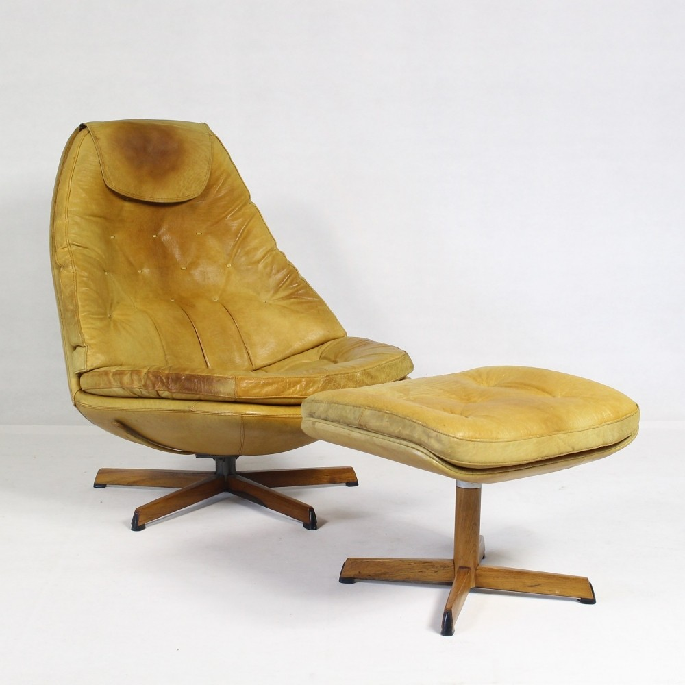 Leather Lounge Chair & Ottoman by Madsen & Schubell