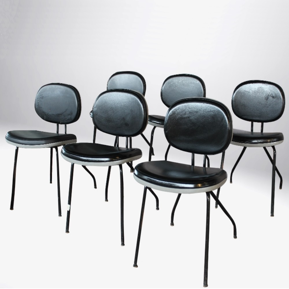 Italian Industrial set of black chairs signed MIM Roma