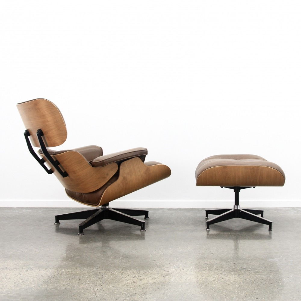 Brown leather & walnut Eames lounge chair + ottoman, 1980s