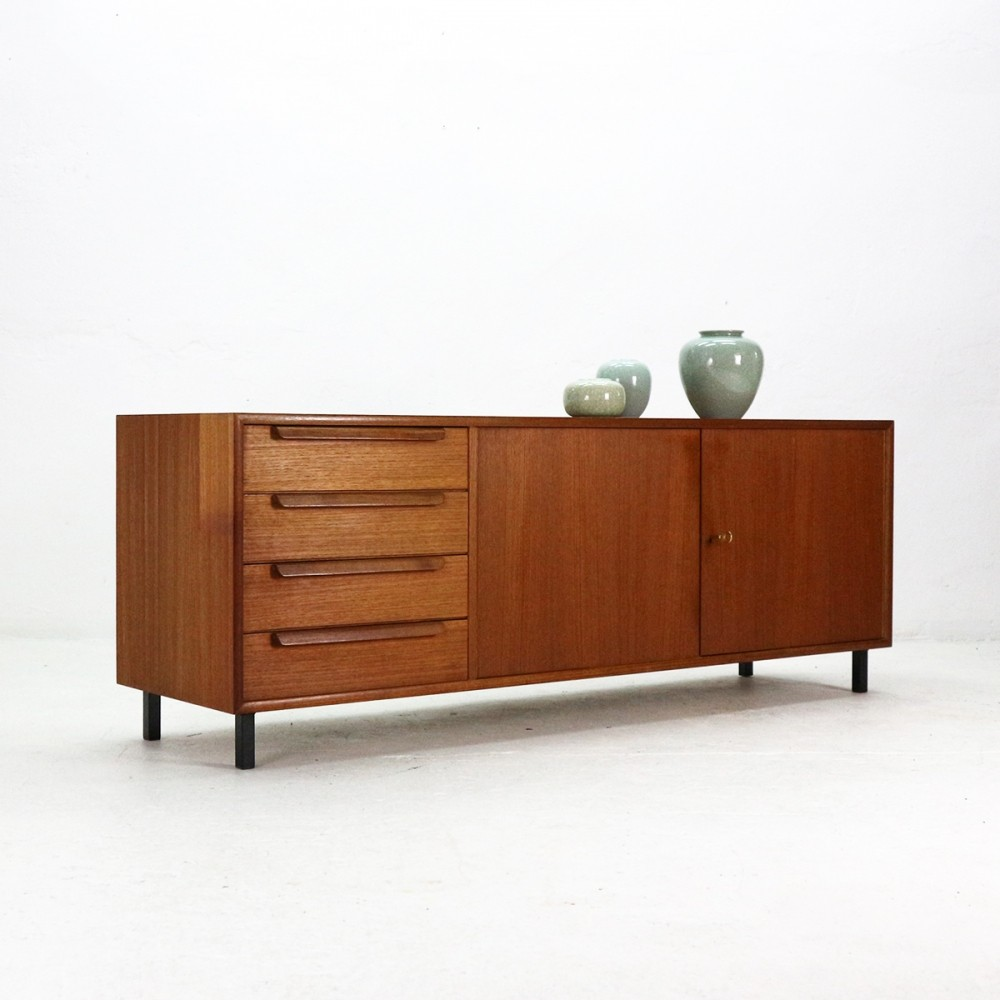 mid century teak sideboard by wk m bel 74535. Black Bedroom Furniture Sets. Home Design Ideas