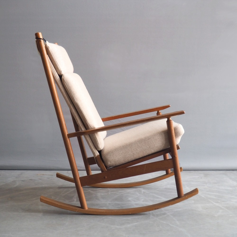 532A rocking chair by Hans Olsen for Juul Kristensen Denmark, 1960s
