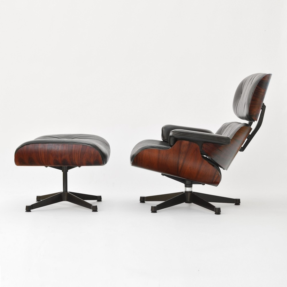 Eames Lounge Chair & Ottoman in Rio Palisander, 1980s
