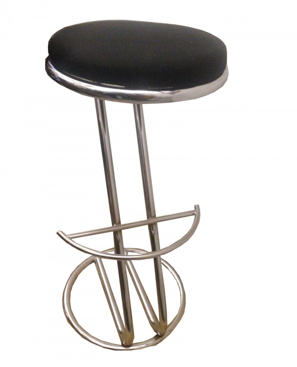 1970s Steel Stool With Black Fabric Seat 75846