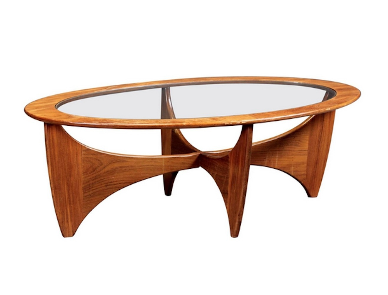 - Oval Teak Coffee Table With Glass Top By G-Plan #76093