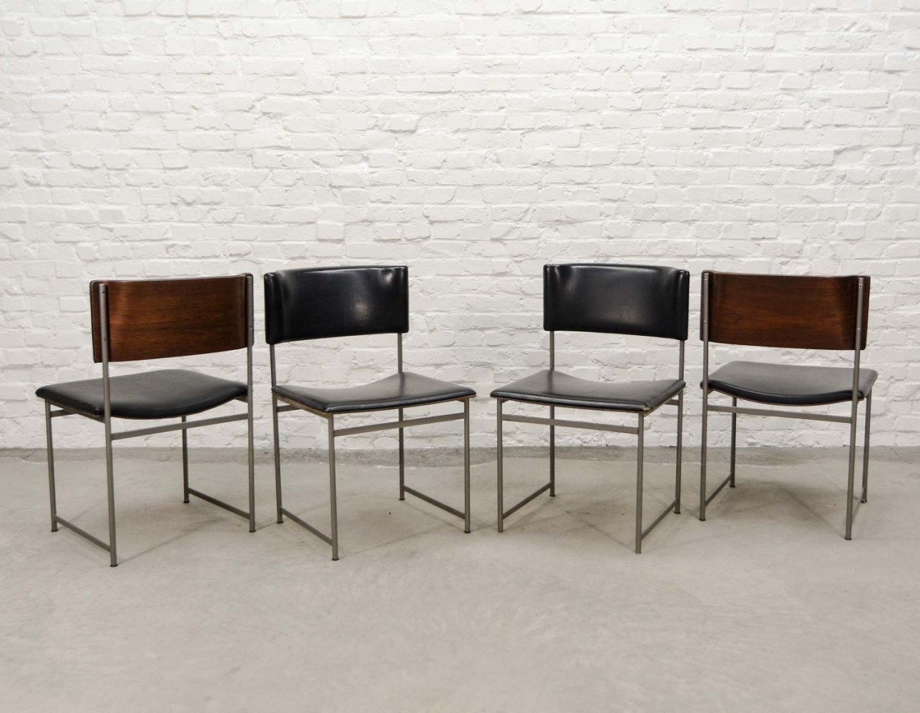 Rosewood & Leatherette Dining Chairs by Cees Braakman for Pastoe, 1960s