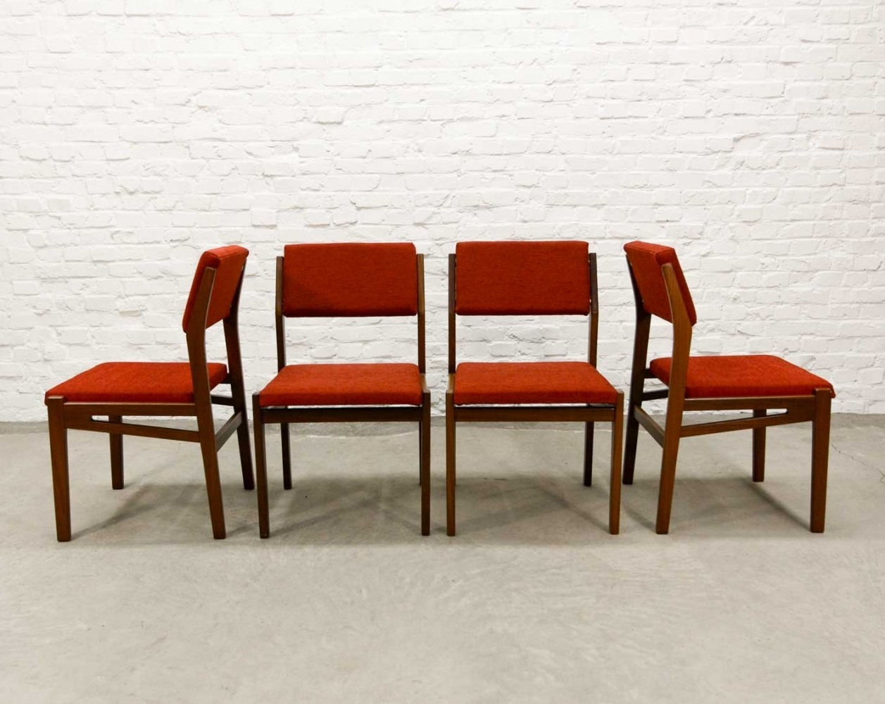 Set of Four Teak Wood Stone Red Dining Chairs by Topform, 1960s