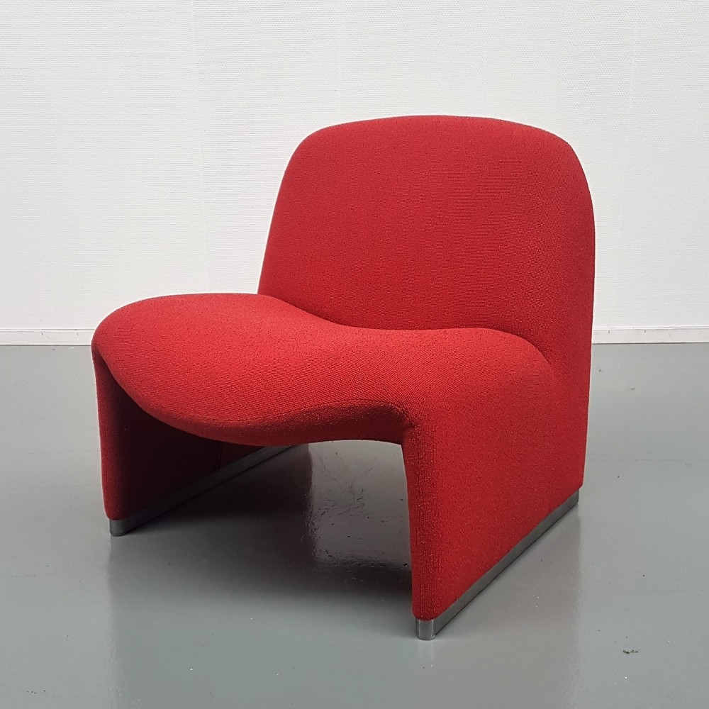 Giancarlo Piretti for Castelli Red Alky lounge chair, 1970s