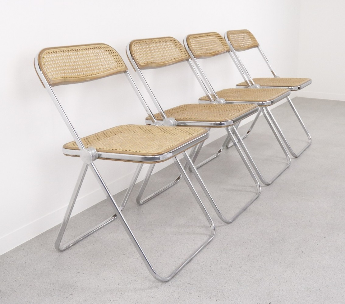 Set of 4 Plia dining chairs by Giancarlo Piretti for Castelli, 1960s