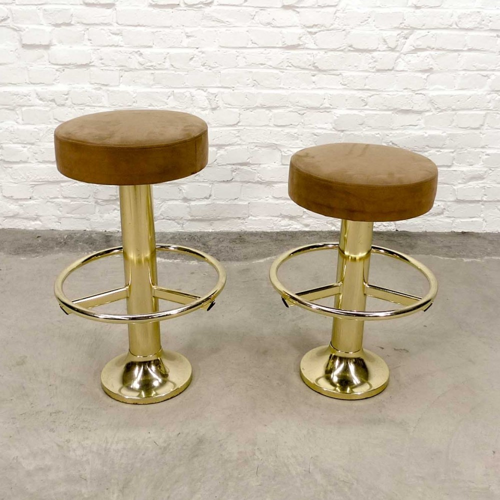 Mid-Century High & Low Brass Chromed Steel Stools, 1970s