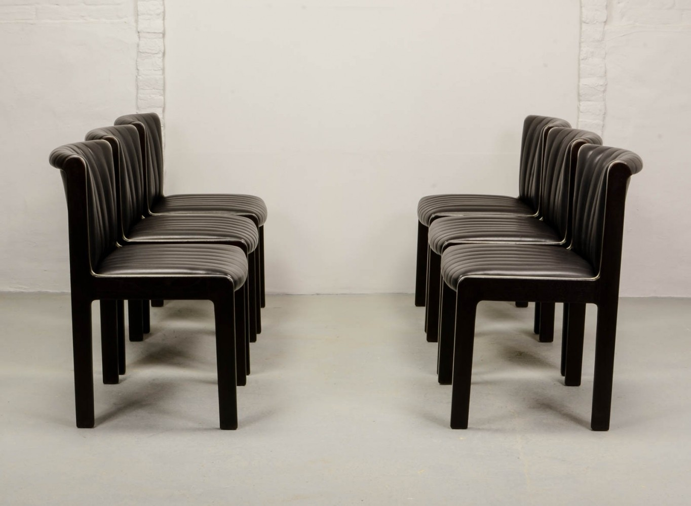 Set of Six High Quality Leather Dining Chairs by Benze Sitzmobel, 1970s