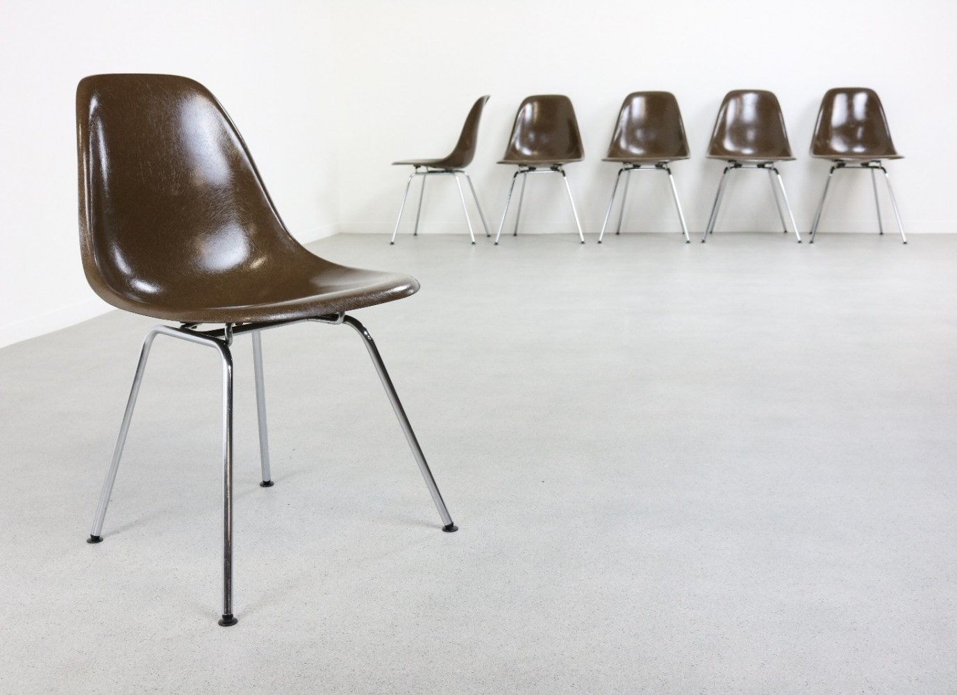 Set of 6 DSX on original H-Base dining chairs by Charles & Ray Eames for Herman Miller, 1950s