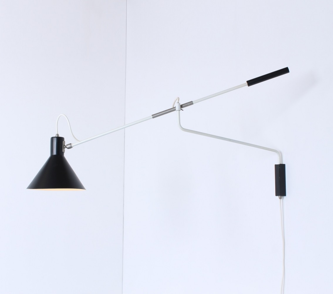 Counter balance wall lamp by J. Hoogervorst for Anvia Almelo, 1950s