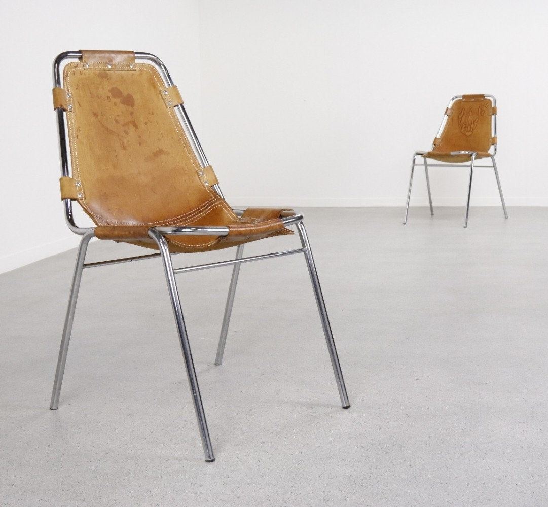 Pair of Les Arcs dining chairs by Charlotte Perriand, 1960s